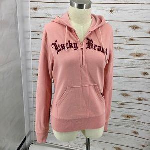 Lucky Brand ¼ zip hoodie fleur de lis spell out M